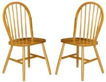 Pair of Windsor Pine Dining Chairs